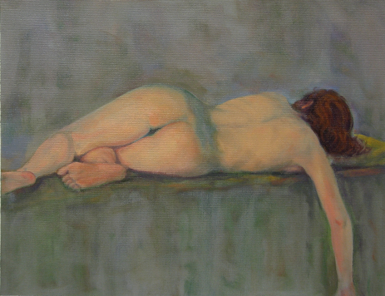 """Michelle in Repose""  Oil on panel 12"" x 16"" SOLD"
